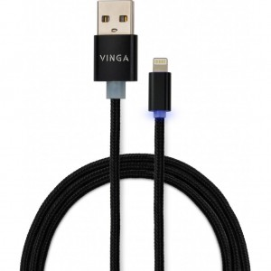 Дата кабель USB 2.0 AM to Lightning 1m LED black Vinga (VCPDCLLED1BK)