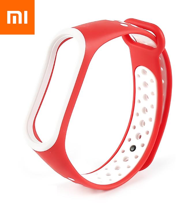 Ремешок для Xiaomi Mi Band 4 Бело-Красный Оригинальное Качество