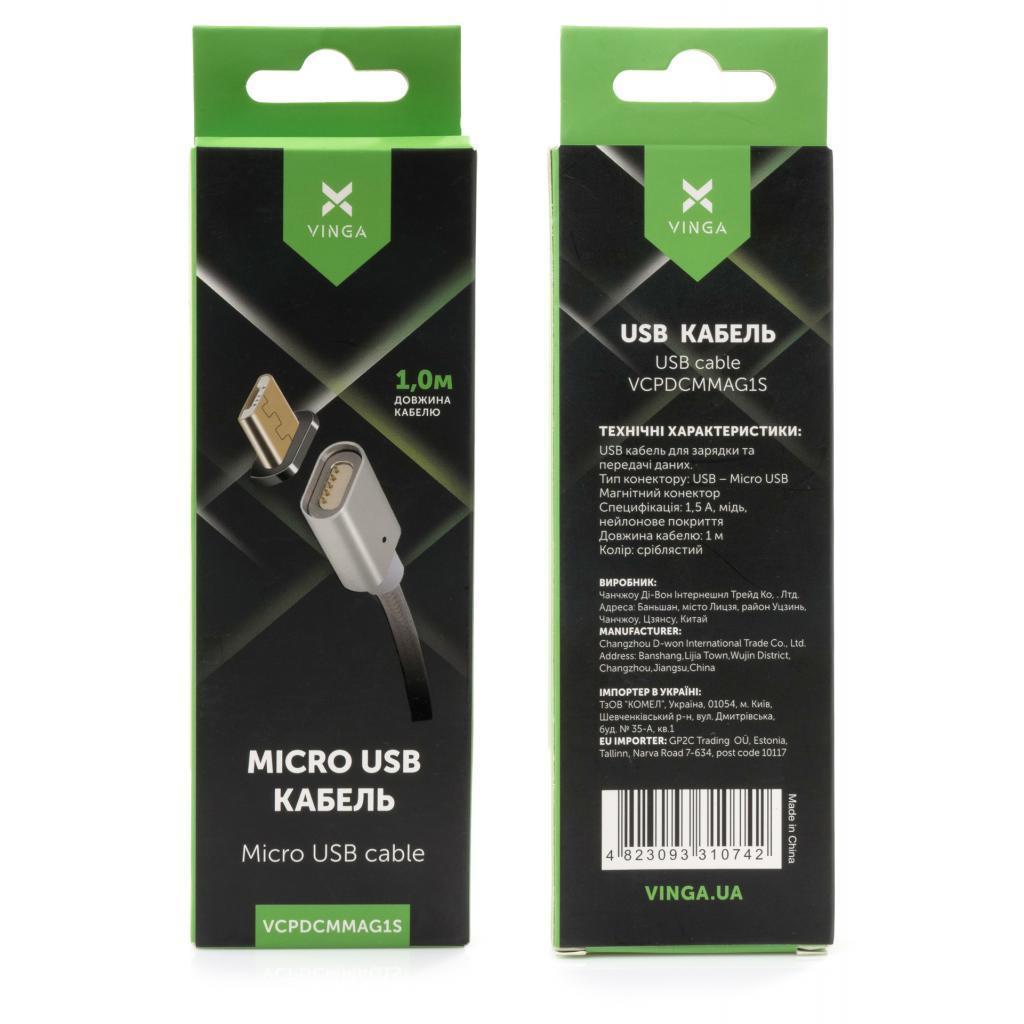 Дата кабель USB 2.0 AM to Micro 5P 1.0m Magnetic Vinga (VCPDCMMAG1S)